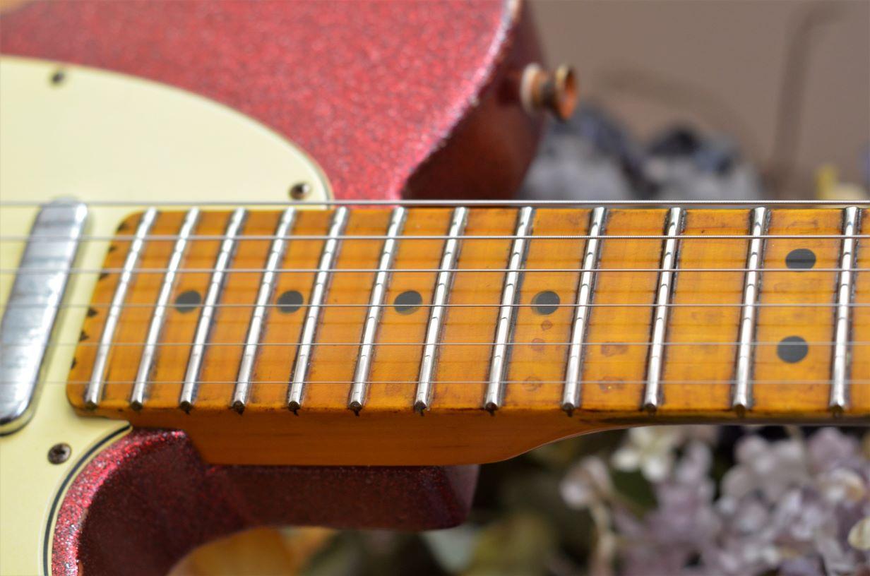Fender Telecaster Custom Red Sparkle Relic Neck Wear