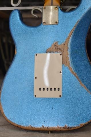 Back Rear Fender Custom Heavy Relic Sparkle Blue