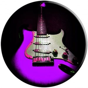 Purple Guitar Rock N Roll Music PopSockets Grip and Stand for Phones and Tablets