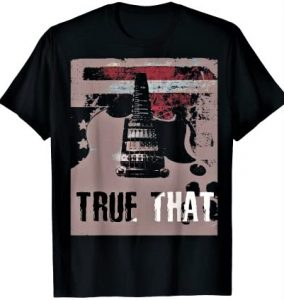 True That Guitar Music American Flag Stars and Stripes T-Shirt