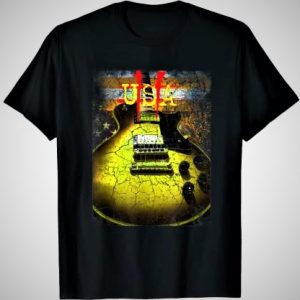 Guitar Rock USA American Flag T-Shirt