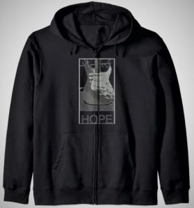 Retro Distressed Hope Electric Guitar Zip Hoodie