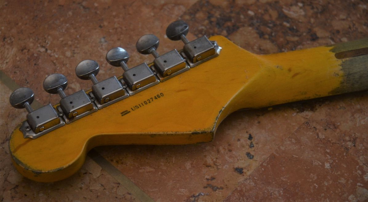 Aged Relic Fender Stratocaster Headstock